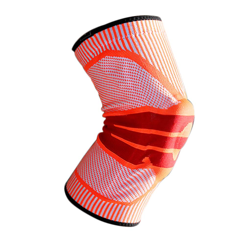 orange XL Knee Support, Sports Men Women Basketball Meniscus Injury Professional Squat Knee Predectors, Silicone Predection, Summer Thin Section, (1 Pair)