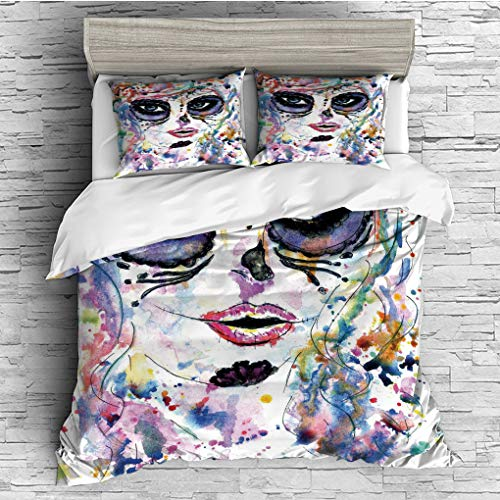 3 Pieces (1 Duvet Cover 2 Pillow Shams)/All Seasons/Home Comforter Bedding Sets Duvet Cover Sets for Adult Kids/King/Sugar Skull Decor,Halloween Girl with Sugar Skull Makeup Watercolor Painting Style -