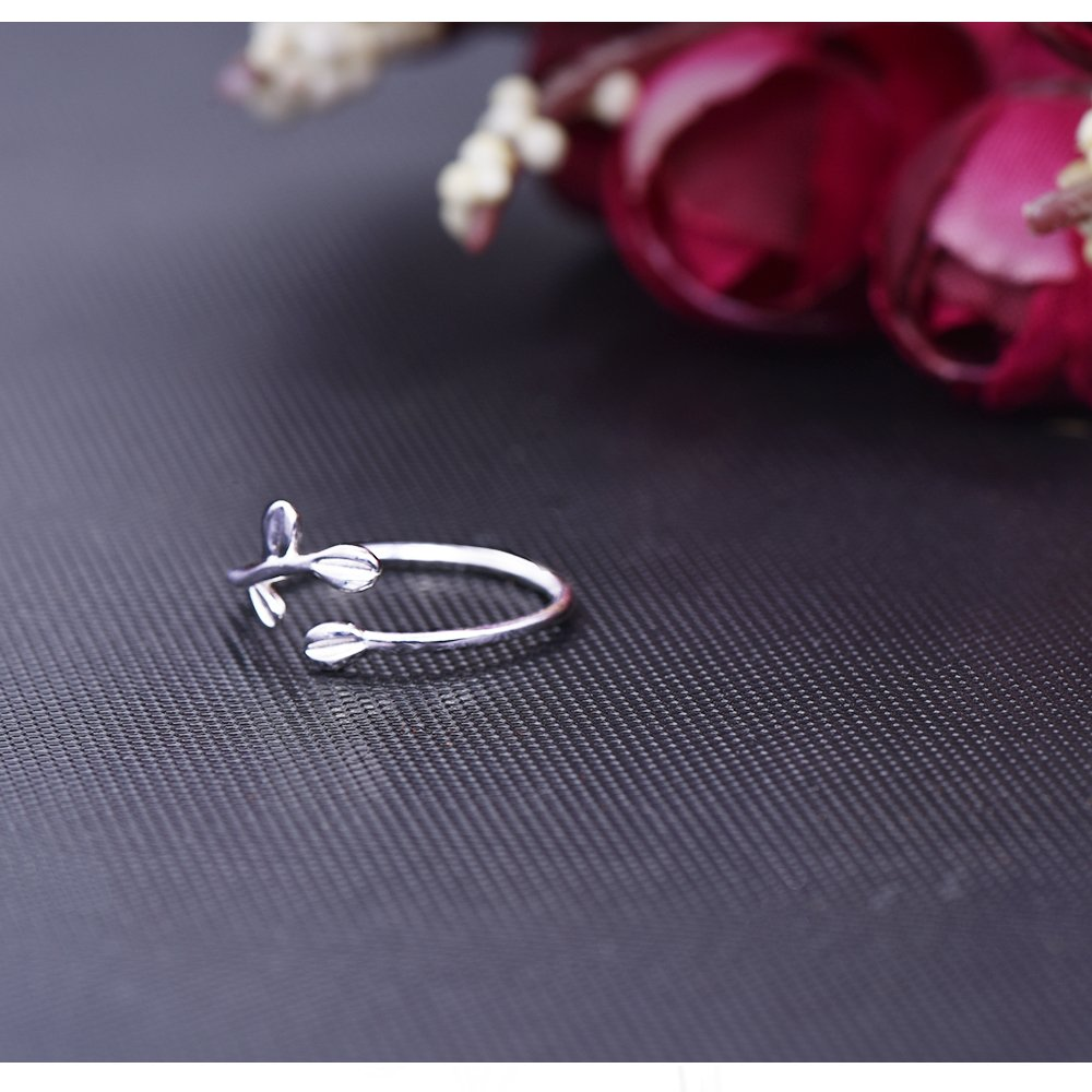 Long Way Ring, 925 Sterling Silver Adjustable Leaf Open ring Fine Jewelry for Women, Best Gift for Mother Wife Girlfriend at Christmas Birthday by Long Way (Image #5)