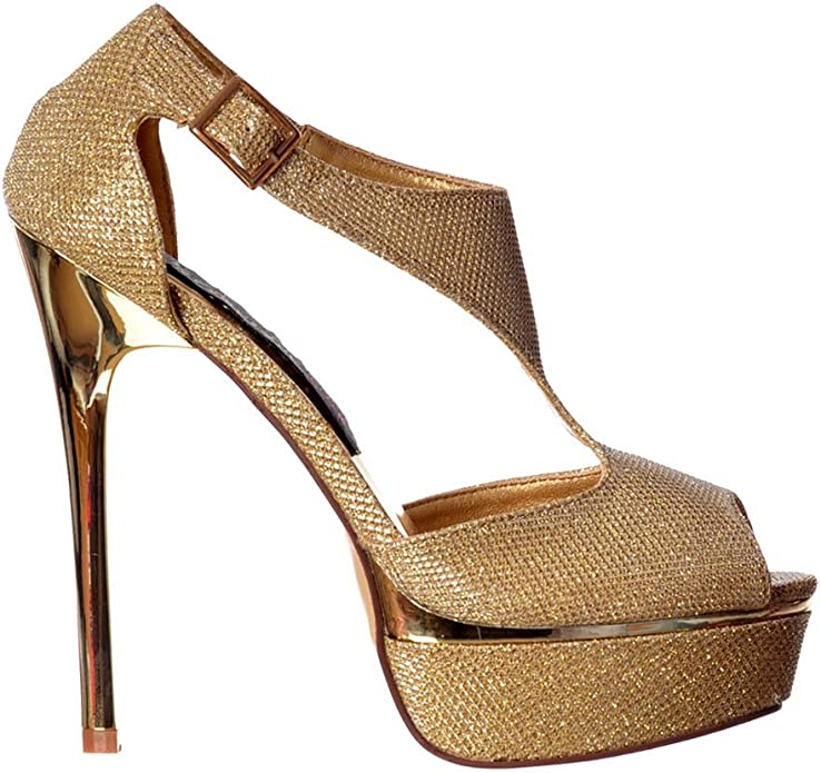 Onlineshoe Womens Sparkly Shimmer Gold or Silver Heel High Heel Peep Toe Party Pumps