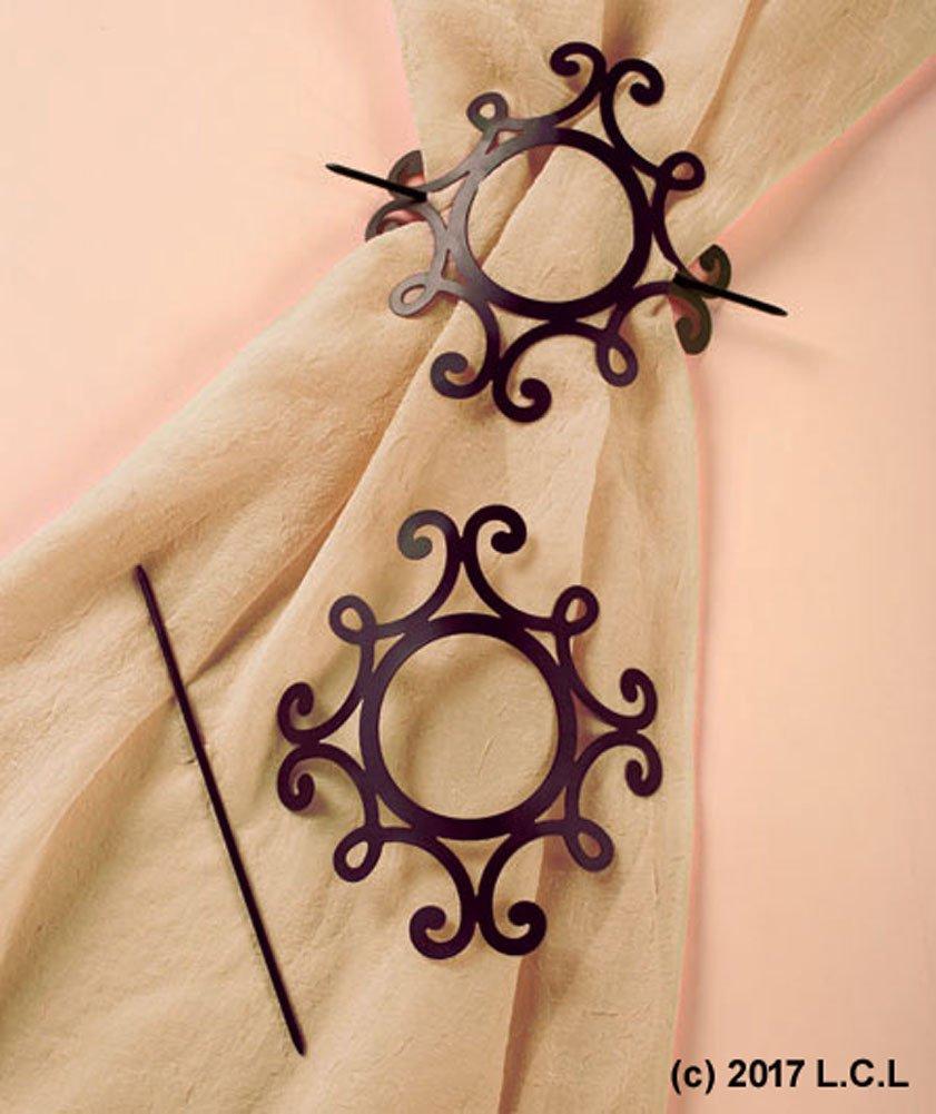 Set 2 Metal SCROLL Curtain Tie Backs Country Primitive Rustic Decor Panel