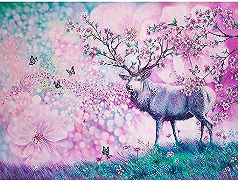 Diy 5D Diamond Painting by Number Kit Flower Elk Crystal Rhinestone Arts Craft Supply Canvas Wall Decor