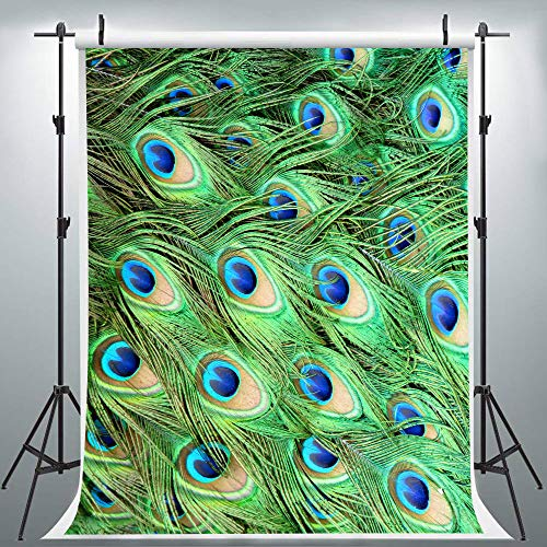Peacock Feather Pattern Stylish Photography Backdrop for Ladies Makeup Party, 6x9FT, Green Room Mural Wall Decor Background, Photo Booth Studio Props LHLU480 -
