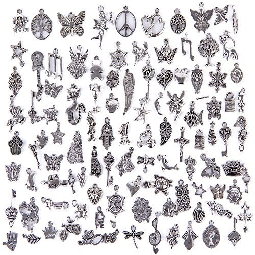 Hraindrop Wholesale 100 Pieces Mixed Pendants Charms for Jewelry Making and Crafting - Smooth Tibetan Silver Bulk Charms DIY For Jewelry Making