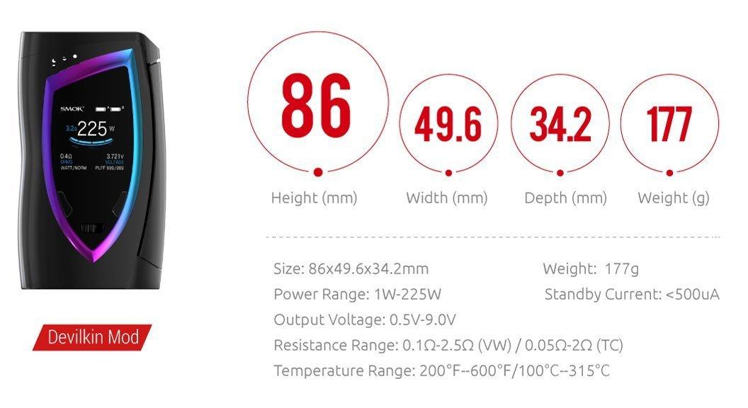 SMOK Devilkin Cigarrillo electrónico 225W TC VW Mod con TFV12 Prince 8ml TPD Tank - Kit Para Principiantes y Todos - Sin Nicotina (Negro Prisma): Amazon.es: ...