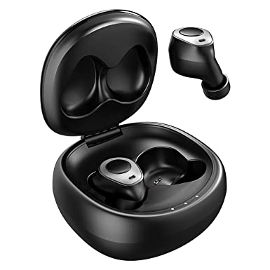 Mpow True Wireless Earbuds, IPX6 Waterproof, 21Hrs-Playtime, V5.0 Bluetooth Headphones, Stereo Sound TWS Earbuds with Charging Case, Noise Reduction Mic, Single Stereo Mode Black, Series II, T3