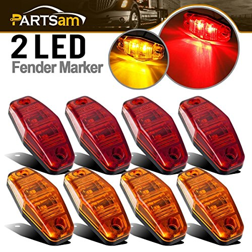 Partsam Universal Red/Amber Surface Mount LED Side Fender Marker Lights, Sealed Mini LED Side Marker Clearance Identification Lights, 2 Wire, 2 Diodes, 2.54 x 1.06 (Pack of 8)