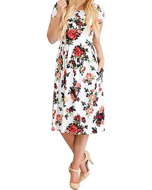 ZhuiKunA Mujer Vintage Vestido Fiesta Impresión Flores Mangas Corta Blanco S