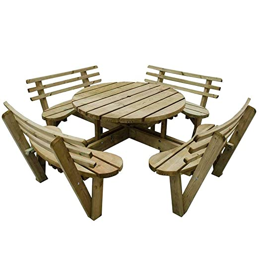 8 plazas mesa de picnic de madera circular adjunto sillas con ...