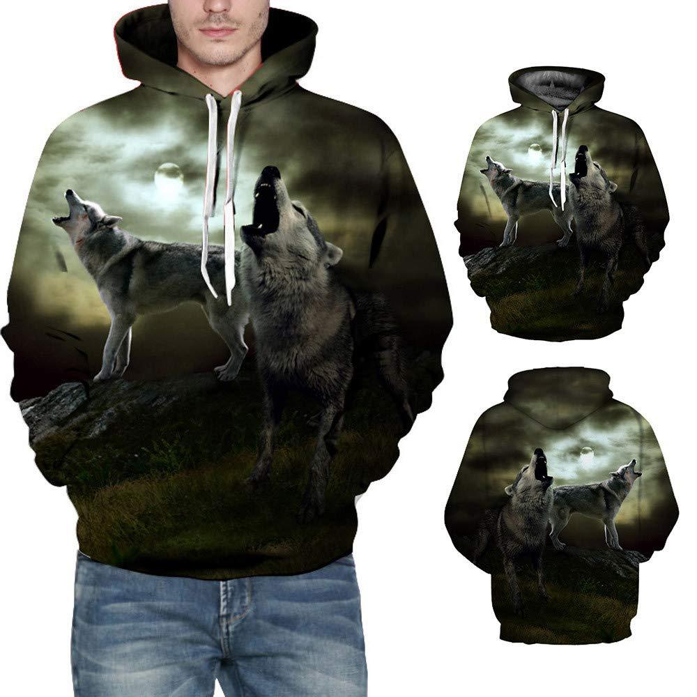 Qinsling Felpacon Cappuccio Uomo Inverno Maglione Stampa Lupo 3D Maniche Lunghe Distintivo Hoodie Sweatshirt Camicetta Dolcevita Classico Tops