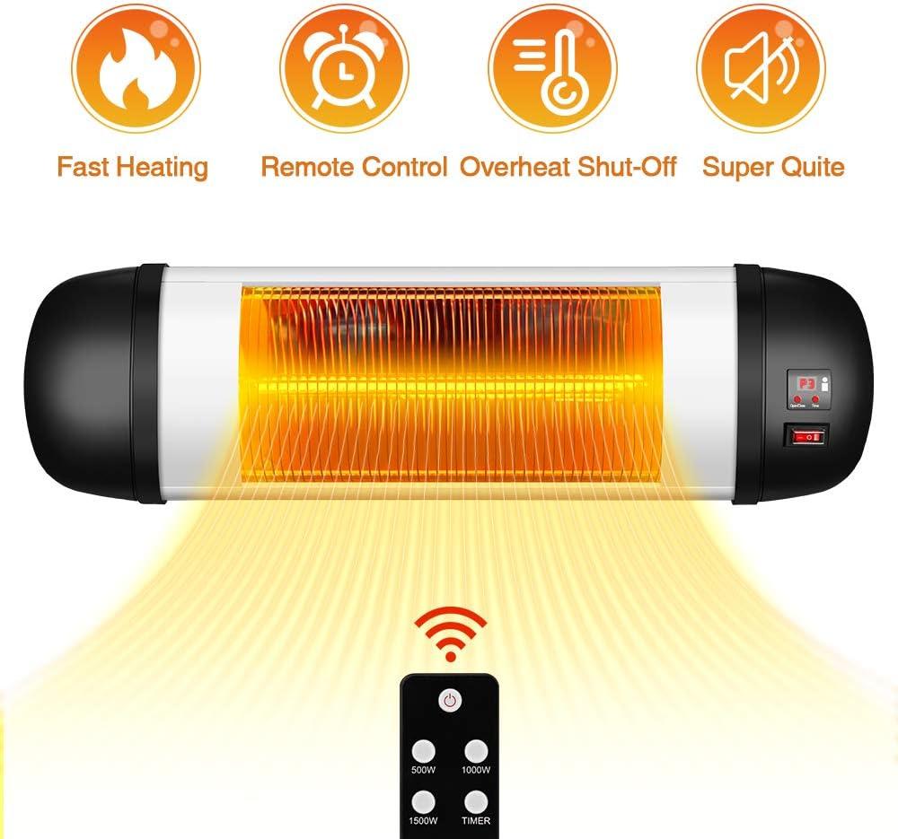 Outdoor PatioHeater- 1500W Garage Heater Infrared Heater w/Remote, 24H Timer Auto ShutOff OutdoorHeater,SuperQuiet3sInstantWarmWall Heater, Space Heater for Patio, Sunroom, Backyard, Office
