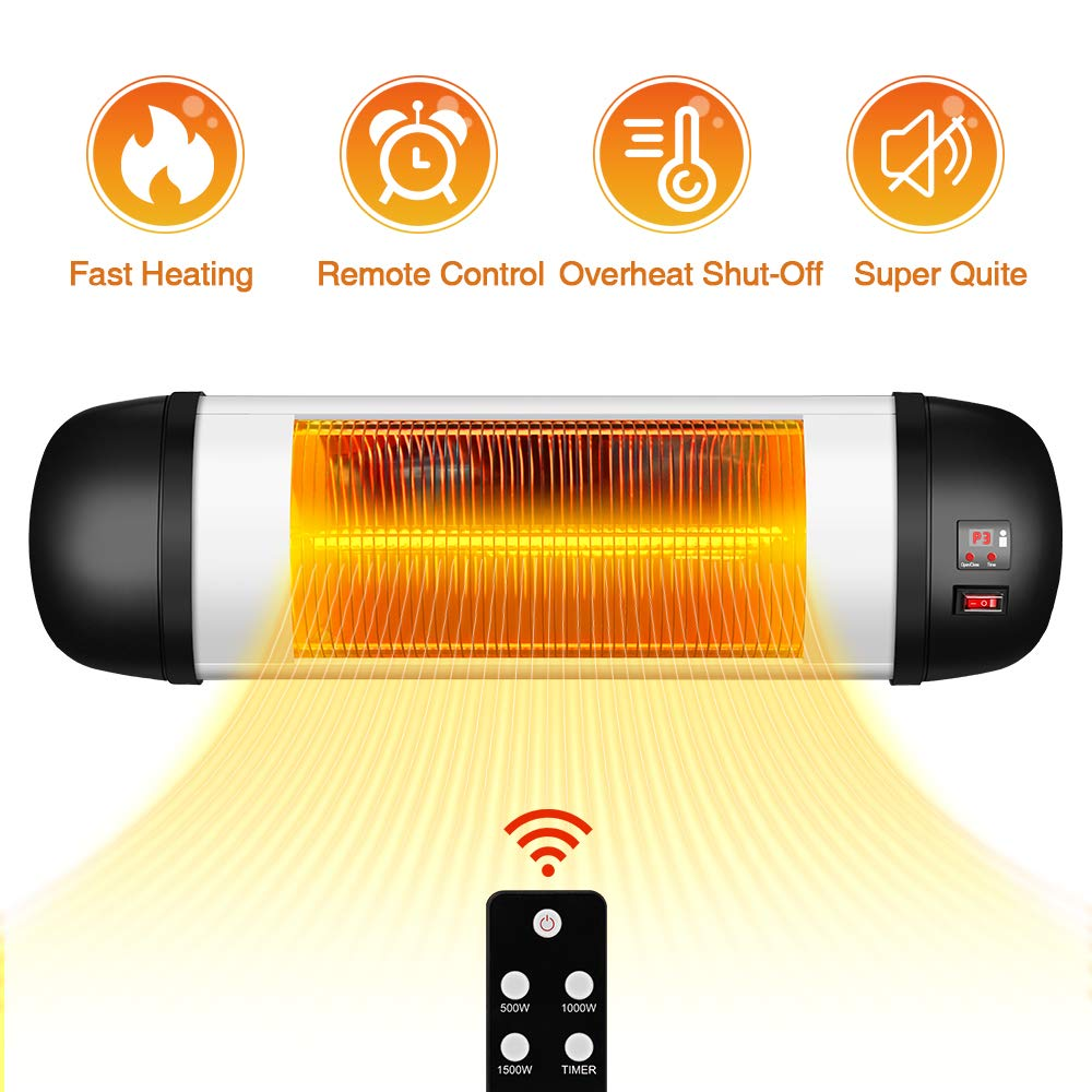 Outdoor Patio Heater- 1500W Garage Heater Infrared Heater w Remote, 24H Timer Auto Shut Off Outdoor Heater,Super Quiet 3s Instant Warm Wall Heater, Space Heater for Patio, Sunroom, Backyard, Office