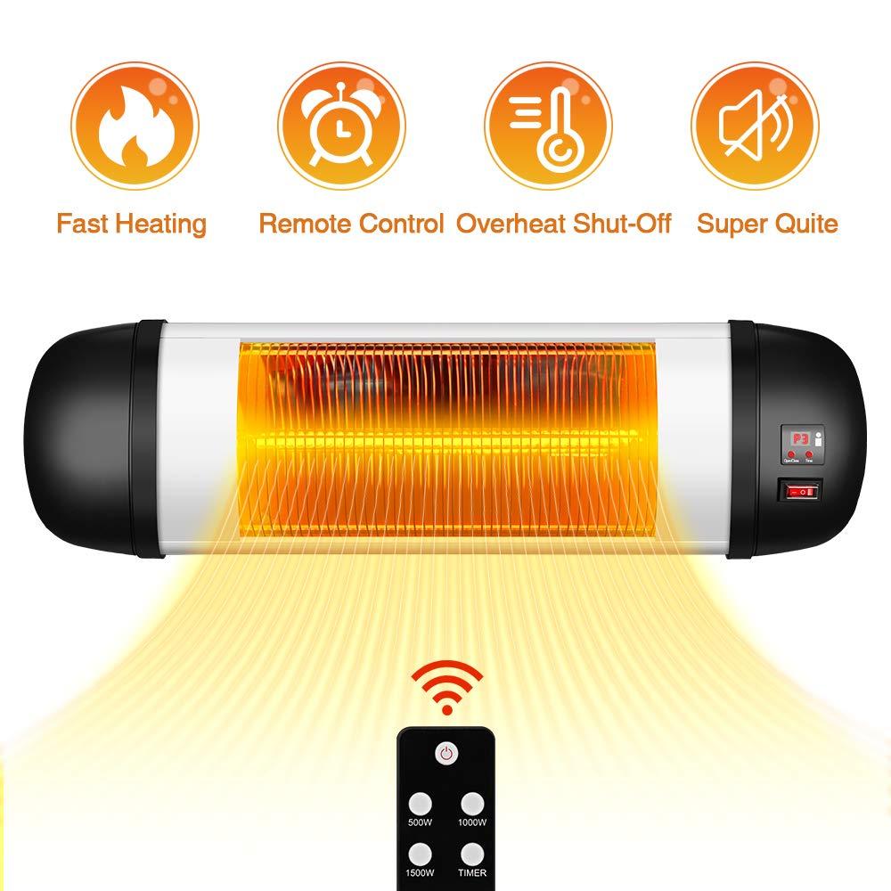 Outdoor PatioHeater- 1500W Garage Heater Infrared Heater w/Remote, 24H Timer Auto ShutOff OutdoorHeater,SuperQuiet3sInstantWarmWall Heater, Space Heater for Patio, Sunroom, Backyard, Office by TRUSTECH