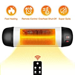 Outdoor Patio Heater- 1500W Garage Heater Infrared Heater w/Remote 24H Timer Auto Shut Off Outdoor HeaterSuper Quiet 3s Instant Warm Wall Heater Space Heater for Patio Sunroom Backyard Office