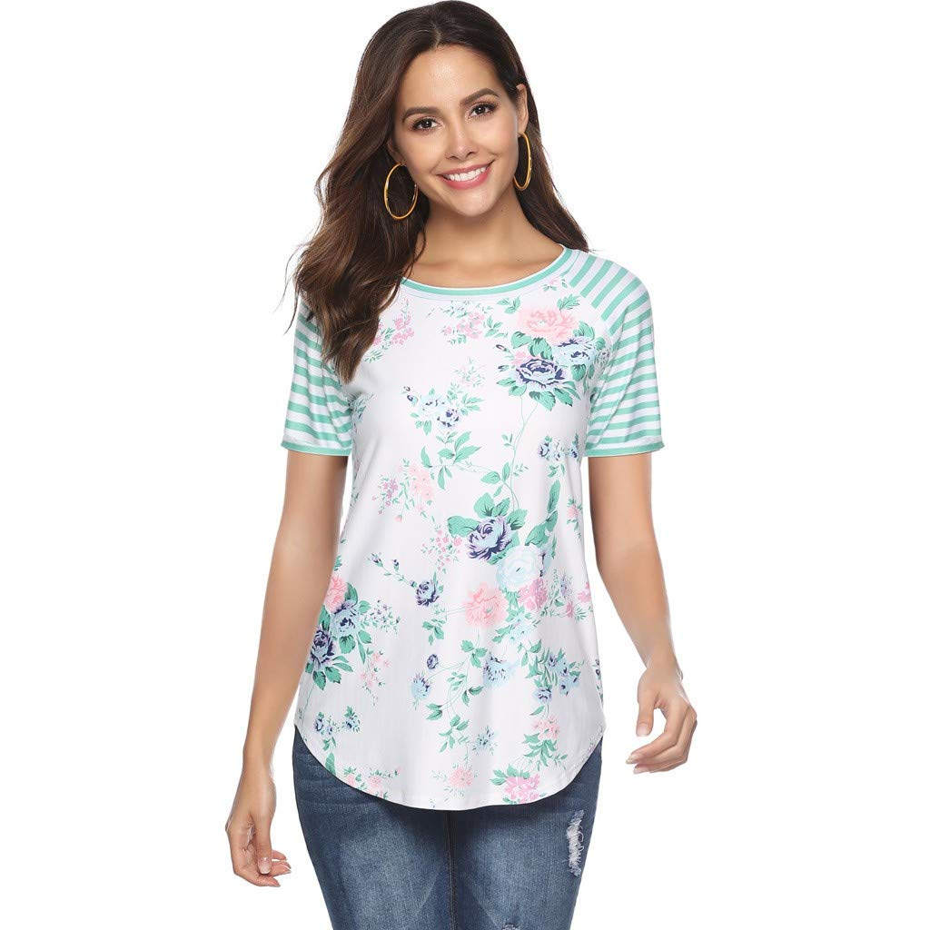 T-Shirts Casual Top Print Striped Stitching Blouse Round Collar T-Shirt Vest Green