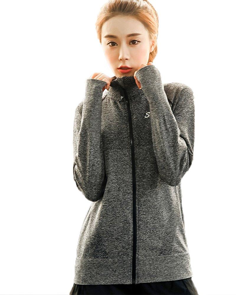Senchanting Plus Size Full Zip Workout Jacket With Thumb Holes Yoga Sweatshirts(Grey,L)