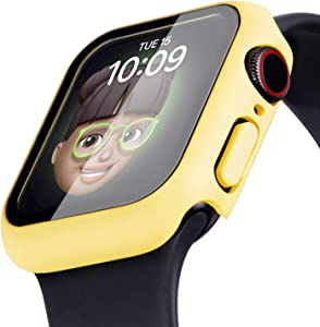 Tefeca Solid Color Case for Apple Watch 6 5 4 3 SE Case, Hard Full Coverage Protective Bumper with Tempered Glass Screen Protector Face Cover for Women Men for iWatch 38/40/42/44mm (Neon Yellow, 44mm)