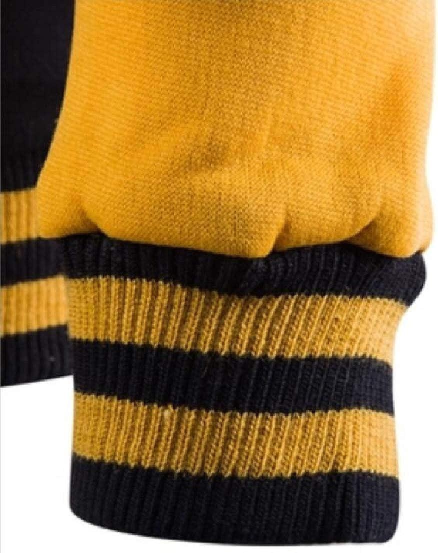 GenericMen Plus Size Hood Pockets Stitch Contrast Baseball Sweatshirts Jacket