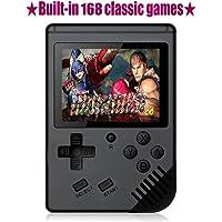 TFHEEY Consola de Juegos Portátil, Consola de Juegos 3 Pulgadas 168 Juegos Retro FC Game Player Consola de Juegos Clásica 1 Carga USB, Regalo de Cumpleaños para los Niños Padres Amigos (Negro)