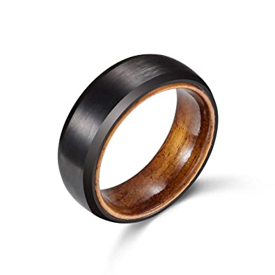 Poya 8mm Black Tungsten Ring Matte Finish Mens Wedding Band With