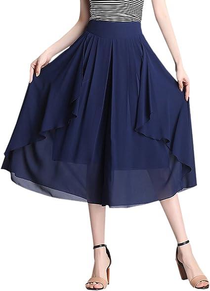 Capri Gaucho Palazzo Pants Women Wide Leg High Waist Flowy Comfy Culottes New
