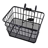 Ohuhu Rust-Proof Quick Release Front Handlebar Bicycle Lift Off Basket / Wire Mesh Bike Basket with Holder, Mesh Bottom, Black