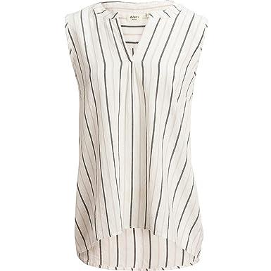 42b0a2e6f1e5b Dylan Shimmer Stripe Hi-Lo Tank Top - Women s Black Grey White Stripes