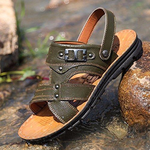 Sommer Das neue Echtleder Sandalen Männer Trend Schuhe Männer Lässige Schuhe Jugend Rutschfest Dualer Gebrauch Strandschuhe ,Grün,US=8.5?UK=8,EU=42?CN=43