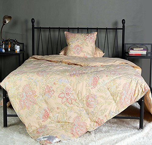 New Floral Goose Down & Feather Comforter Blanket with 100% Organic Cotton Cover for Spring/Summer,Light Weight,King 106x90inch