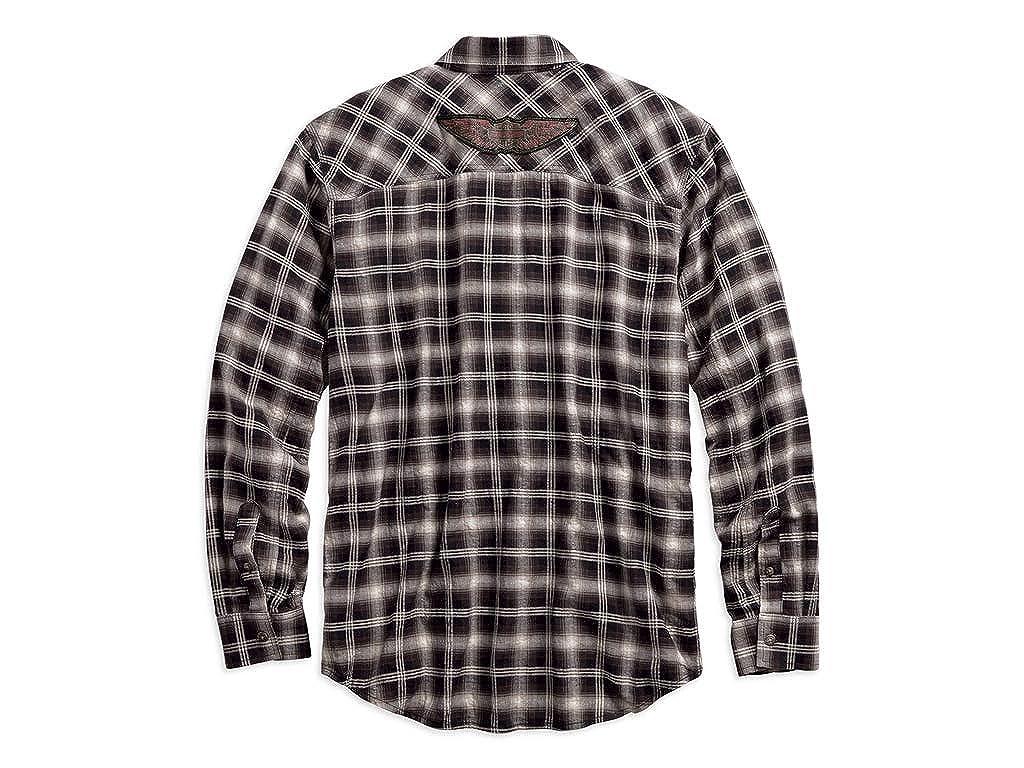 HARLEY-Davidson H-D RACING LONG SLEEVE plaid shirt tg XXL-Beige Uomo Camicia
