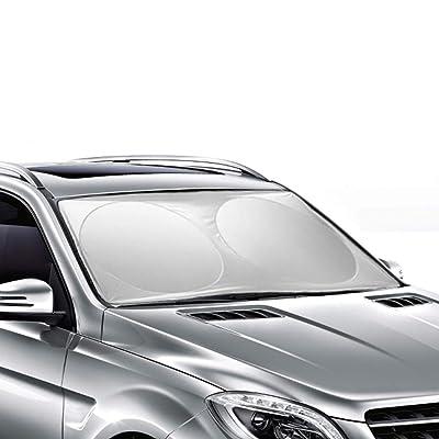 Ohuhu Windshield Sun Shade, Auto Car Sun Shade for Windshield Sunshade Sun Visor for Car Windshield Cover 63 X 33.86 Inches: Automotive