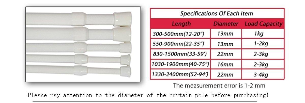 Support 2kg Barre Tension de Rideau de Douche Telescopique Aluminium 13mm Couvert en Plastique Blanc 55-90cm