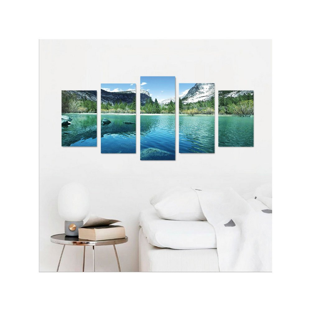 Liguo88 Custom canvas Country Decor Collection Mirror Lake in Yosemite Scenic Picture with Mountains Lakeside Trees Waterscape Bedroom Living Room Wall Hanging Turquoise Blue