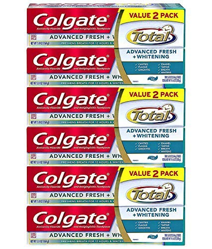 Colgate Total Advanced Fresh + Whitening Toothpaste, 5.8 oz. (Pack of 6) (Colgate Classic Toothpaste)