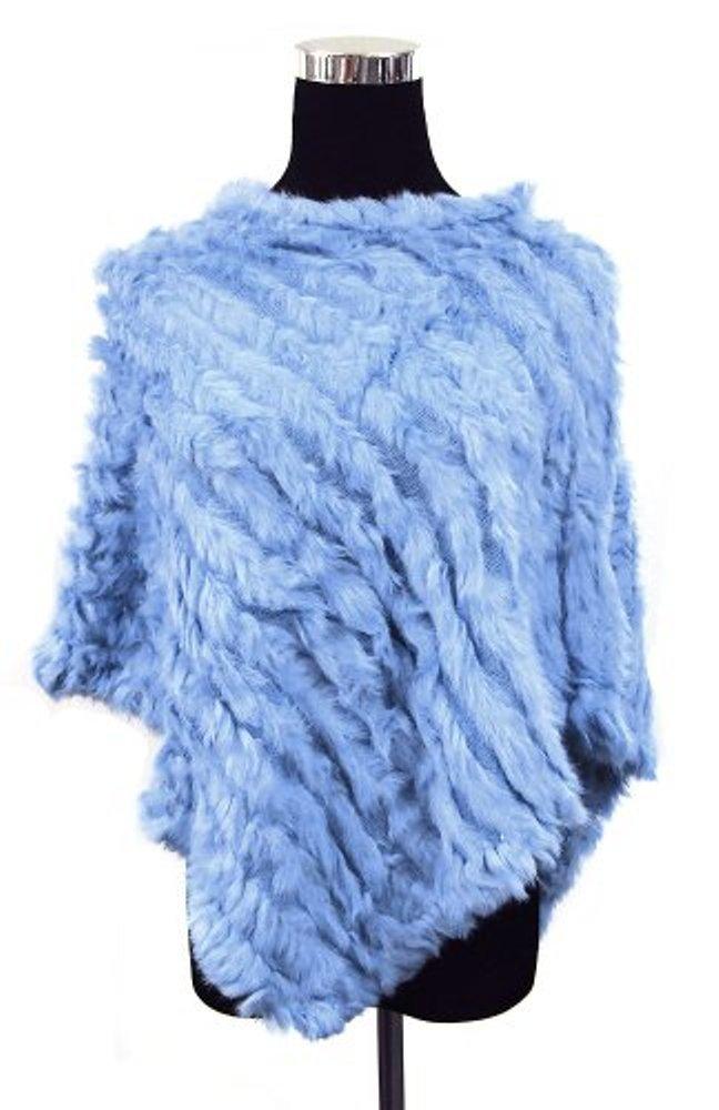 Wool Knit Striped Angora/Rabbit Fur Shawl Poncho Top Wrap--LIGHT BLUE