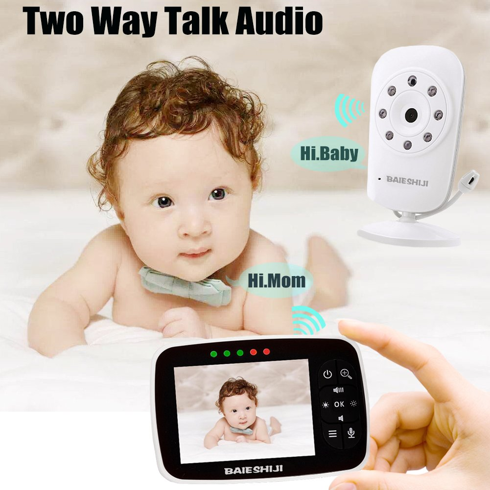 Baby Monitor, Video Baby Monitor 3.5'' Large LCD Screen, Baby Monitors with Camera and Audio Night Vision,Support Multi Camera,ECO Mode,Two Way Talk Temperature Sensor,Built-in Lullabies (3.5 inch) by BAIESHIJI (Image #4)