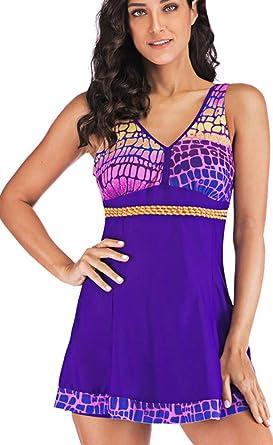 TALLA XL. PANOZON Mujer Vestido de Traje de Baño Bañador con Falda Estampas de Alas de Mariposa Mar Playa Piscina