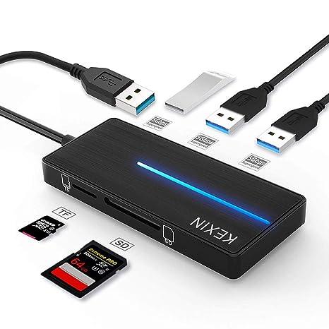 KEXIN Hub USB 3.0 con 3 Puertos USB 3.0 y Lector de Tarjetas SD y TF, Ultra Fino Hub USB [5 en 1] Compatible con Notebook / Laptop / Ultrabook / ...