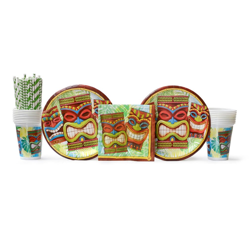 Tiki Time Party Supplies Pack for 16 Guests: Straws, Dinner Plates, Luncheon Napkins, and Cups