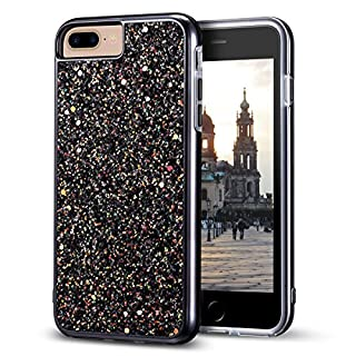 """iPhone 8 Plus Case, iPhone 7 Plus Case, MIRACASE Bling Sparkle Dual Layer Shockproof Hard PC Cover Soft TPU Inner Glitter Case for iPhone 7 Plus/8 Plus/6 Plus/6S Plus (5.5""""), Black"""