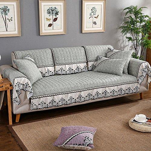 NS&SBZZ Copridivani Sezionali,cuscino di lino in cotone cuscino/quattro stagioni comune soggiorno slip asciugamano/semplice copertura moderna copertura del divano-E 90x240cm(35x94inch)