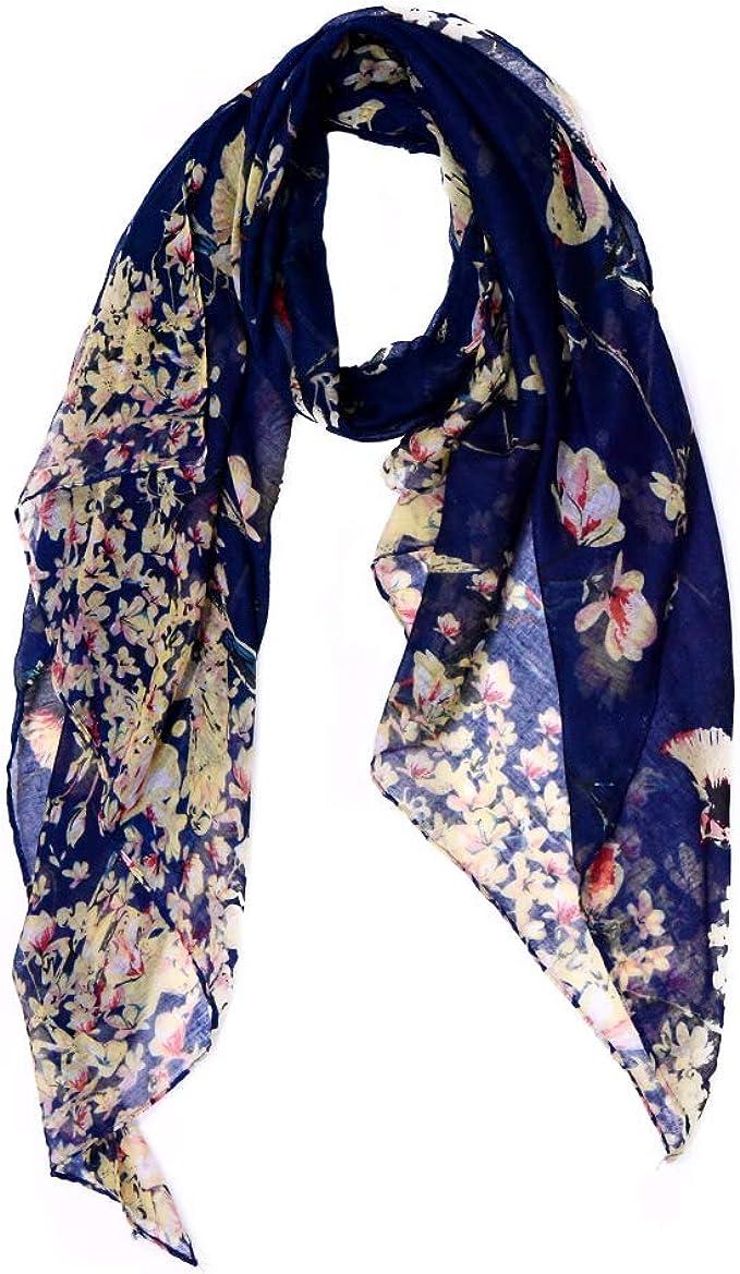 Bird Scarf Ladies Lightweight Summer Garden Sarong Gift Present Birthday Navy