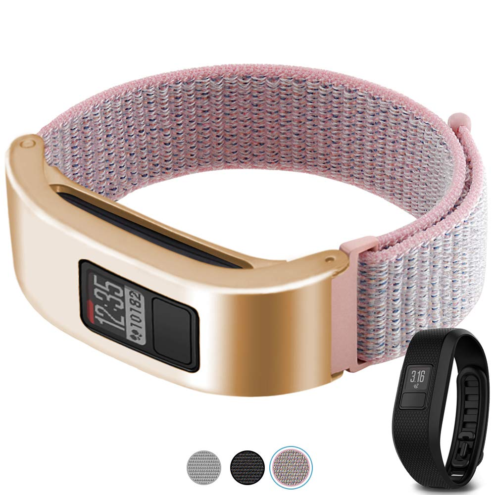 C2D JOY Only Compatible with Garmin Vivofit 3 and Vivofit Jr. Metal Case with Replacement Band, Sport Mesh Strap for Sports&Daily Activity Tracker Accessory Nylon Weave Watchband - 12#, S/4.8-6.8 in. by C2D JOY
