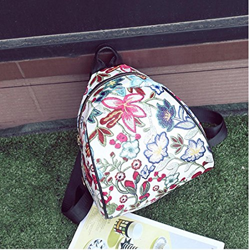 Allywit Embroidery Schoolbag Ethnic Vintage Travel Canvas Women Bags Backpack Flower Purple rqprPw1R