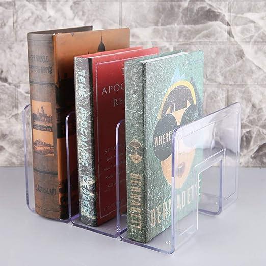 ZIRAN Acrylique Transparent Multi-Couche Serre-Livres d/écoratif /étag/ère /à Livres Maison Bureau /école biblioth/èque Papeterie Fournitures Cadeaux Serre-Livres-Acrylique