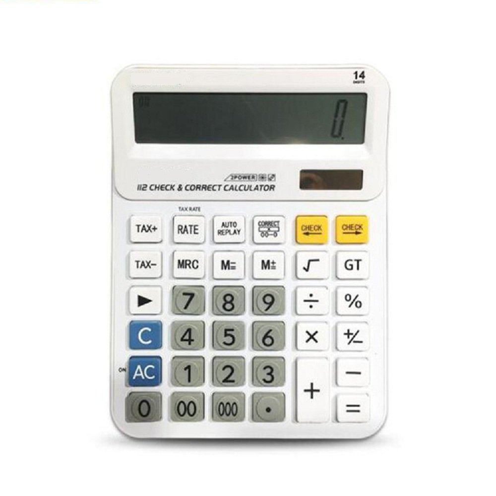 Calculator , Professional Desk Standard Tax Calculator Financial Office/Business/ Scientific Calculators with 14-digit Large Display Calculator Solar and AA Battery Dual Power White