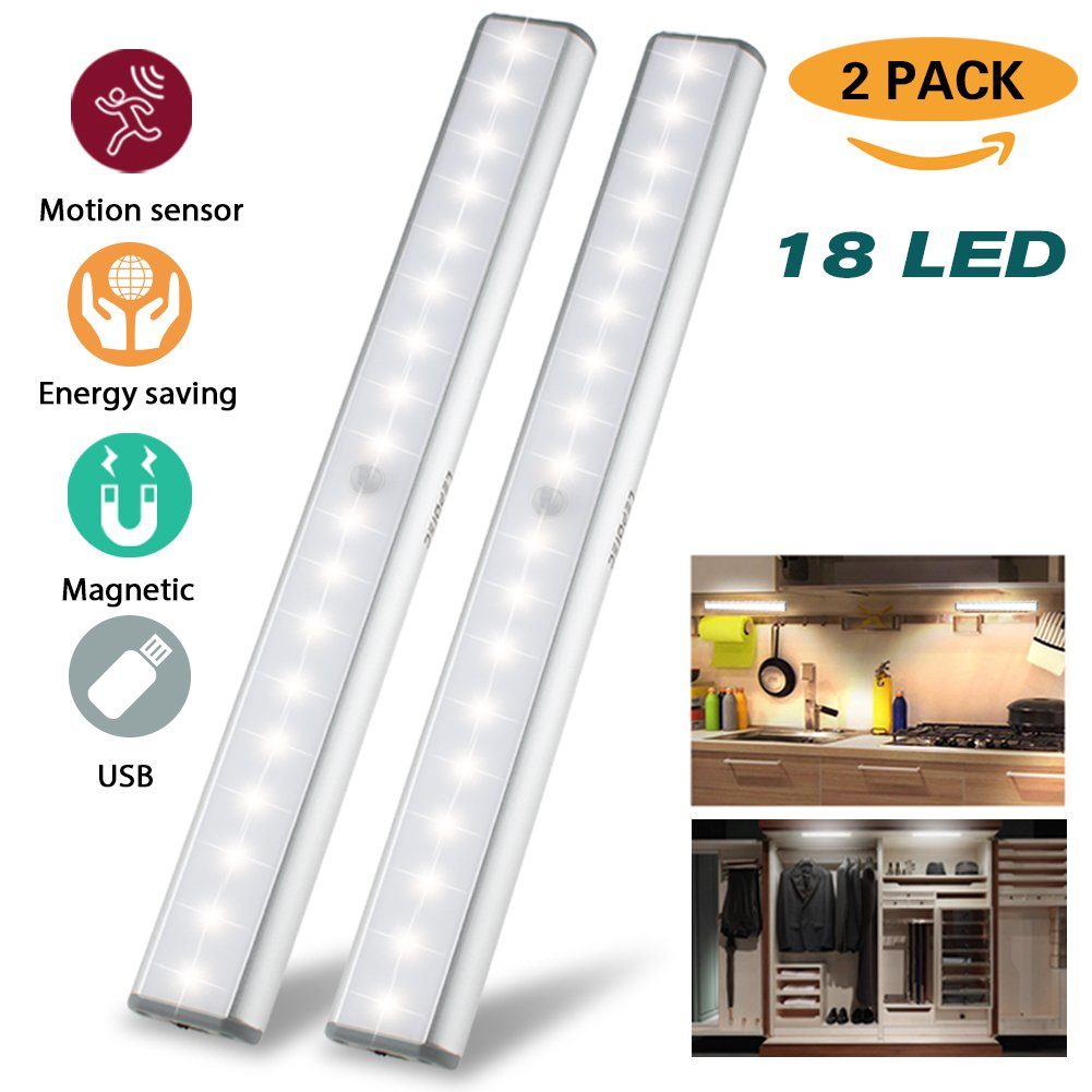 Under Cabinet Lights Closet Lights Motion Sensor 18 LEDs USB Rechargeable Wireless Under Cabinet Lighting,Magnetic Stick On Anywhere LED Night Lights for Closet/Drawer/Cupboard,White Light,2 Pack by LEPOTEC