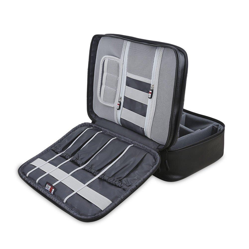 BUBM Organizador para Eléctronica Estuche para iPad Pro 10.5 Pulgadas Bolsa de Cables Funda de Bantería Extra(Grande, PU Negro)