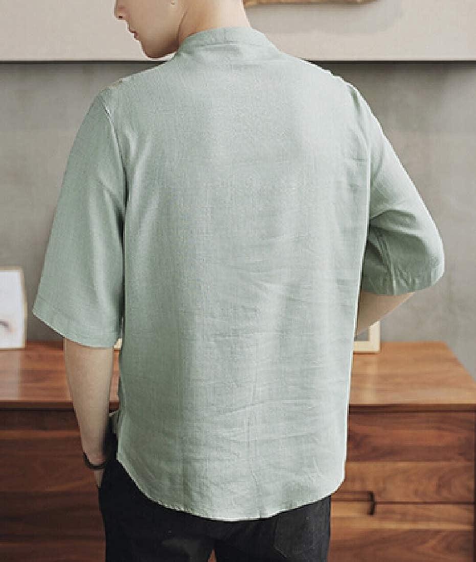 Jmwss QD Men Cotton Linen Shirts Frog Button Up Tops Lightweight Tees