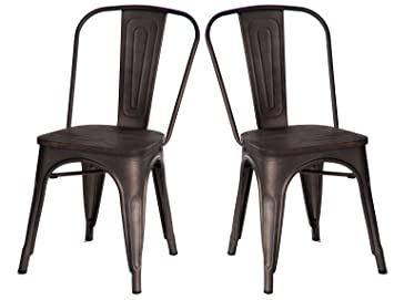 Merax High Back Metal Dining Chair With Wood Seat Stackable Vintage Dining  Bistro Cafe Side Chairs